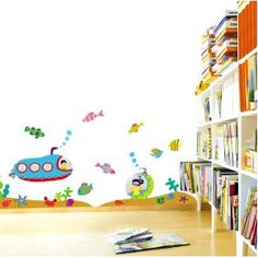 Submarine & Tropical Fish Nursery/Kids Room Peel & Stick Removable Home Wall Art Sticker Decals