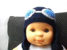 bonnet bébé style aviateur,coloris marine : Mode Bébé par douceurlayette