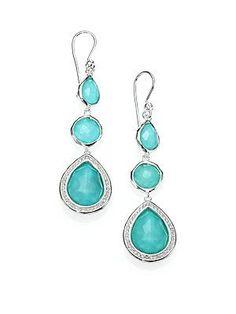 IPPOLITA Diamond,Turquoise, Clear Quartz & Sterling Silver Earrings (=)