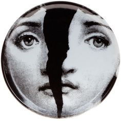 Fornasetti Face Print Coaster (€52) ❤ liked on Polyvore featuring home, kitchen & dining, bar tools, fornasetti, stuff, white, white coasters, black and white coasters, fornasetti coasters and round coasters