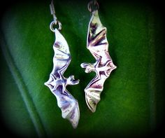 Little Flying Sterling Silver Bat Drop by diggersgoldjewelry, $35.00