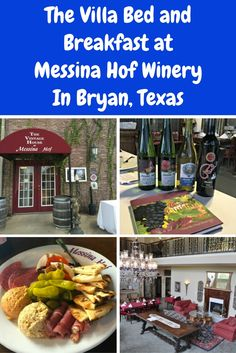 f you are looking for unique accommodations in the Bryan, Texas area, I highly recommend staying in one of the cool themed rooms from the state's best winery family, Messina Hof. The Villa at Messina Hof is a wonderful place to be pampered, sip on fabulous wines, plus walk across the parking lot for a wonderful dinner at their onsite restaurant.