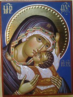 The Virgin of Tenderness. Byzantine Icons, Byzantine Art, Religious Icons, Religious Art, Famous Freemasons, Church Icon, La Madone, Religion, Art Basics