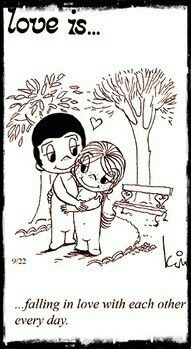 Love is. falling in love with each other every day.I love this cartoon. I collected them from the newspaper at my early teen years. Love Is Cartoon, Love Is Comic, Mickey Bad, What Is Love, Love You, Image Citation, Love My Husband, Sweet Words, Love Notes