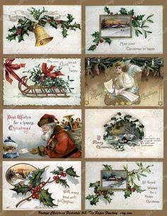 Vintage Christmas Post Cards No. 3 Digital Collage Sheet. via Etsy. #vintage #Christmas #postcard