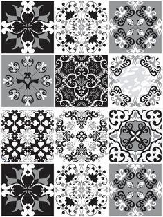 Papel de Parede Hidraulico de Ladrilho Cores Escuras estampa de adesivo em cores preta, branca e cinza. Deixe seu ambiente ainda mais aconchegante. Confira