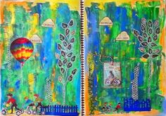 Bastelmania: Journal pages, rain and clouds
