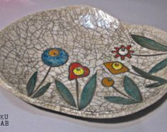 Flat ceramic bowl raku - Handmade - Line Flower - Ceramic Centerpiece - Handmade ceramic
