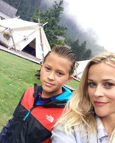 Reese Witherspoon camping with her son Deacon.