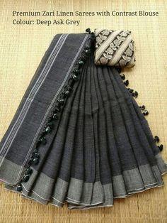 How can I buy this sari? What's the price? Indian Attire, Indian Wear, Indian Outfits, Ethnic Outfits, Khadi Saree, Kurti, Simple Sarees, Black Saree, Saree Dress