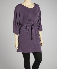 Love this Heather Purple Tie-Waist Dolman Tunic - Plus on #zulily! #zulilyfinds