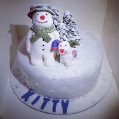Snowman and snowdog cake