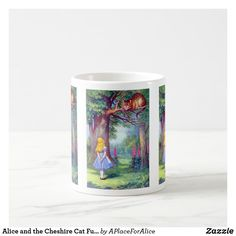 Shop Alice and the Cheshire Cat Full Color Coffee Mug created by APlaceForAlice. Wedding Color Schemes, Wedding Colors, The Cheshire, Cat Coffee Mug, Birthday Balloons, Alice In Wonderland, Special Gifts, Photo Mugs, Vintage Antiques