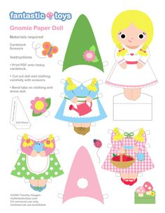 Gnome printables!  Paper dolls, mobile, & more!