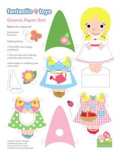 Gnome printables!  Paper dolls, mobile, & more!