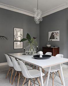 Living Room : Beautiful grey living space - via Coco Lapine Design Grey Dining Room Paint, Grey Walls Living Room, Dining Room Walls, Dining Room Design, Living Room Decor, Living Spaces, Living Rooms, Grey Kitchen Floor, Black And White Furniture
