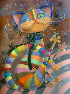 Gato colorido! @Ana G. Victoria Lagos #colores #gatunos