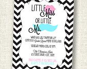 Little Miss. or Little Mr. - Gender Reveal - Mustache and Lips - Black and White Chevron - PRINTABLE Invitation