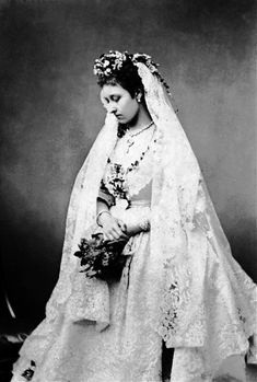 Princess Louise of Great Britain on her wedding day. She was the first royal to marry a commoner. Her husband at the time, John Campbell, was Marquess of Lorne, and later inherited the title of Duke of Argyll.