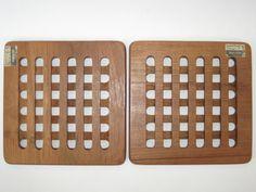 Selandia Denmark Teak Wood Geometric Grid Lattice by ModandMore
