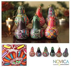Novica Set of 6 Dried Mate Gourd 'Neon Party' Ornaments