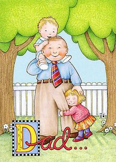 Mary Engelbreit-HAPPY FATHER'S DAY DAD Picket Fence Kids-Father's Day Card-NEW!