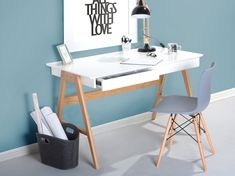 - Schreibtisch Fushana Farbe: Buche / Weiß / Champagne – 75 x 140 x 60 cm (H x B x T) Easy MöbelEa Desk white 120 x 70 cm 2 drawers Sheslay BelianiBeliani - White Desk Office, White Desks, Home Office Desks, Office Decor, Home Design Living Room, Living Room Sofa, Modern Desk Chair, Flur Design, Ikea Desk