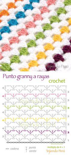 Crochet: punto granny a rayas! Diagrama de este versátil punto que es muy usado para hacer cobijas y muchas prendas más!