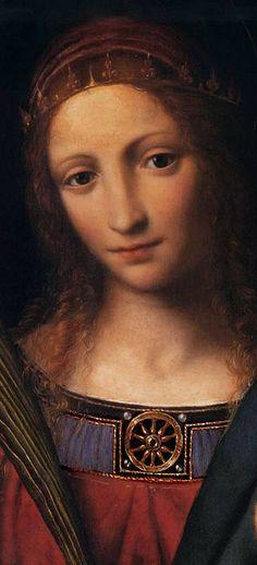 Bernardino Luini (1485–1532) Madonna and Child with Sts Catherine and Barbara (detail)