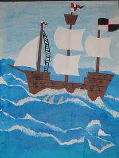 "4th grade watercolor pirate ship collage painting; 22""X28""; art teacher: Susan Joe"