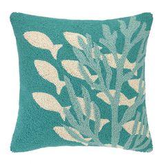 KN Underwater Turquoise Hook Pillow: Beach Decor, Coastal Decor, Nautical Decor, Tropical Decor, Luxury Beach Cottage Decor