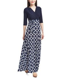 Loving this Navy & White Quatrefoil Surplice Maxi Dress on #zulily! #zulilyfinds