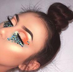 Orange half-cut crease w/ blue under eye