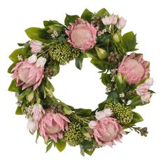 Artificial pink protea king mix wreath. Dimensions: 61cmD
