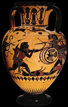 Black figure vase painting Ancient Greek