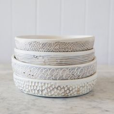 Sgraffito Flat Bowl / Medium / White or by GlobalEyeCollective