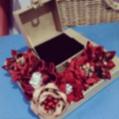 Red Ribbon Flower Ring Box