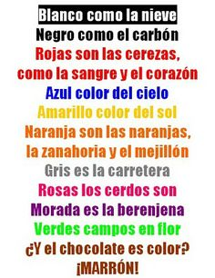 """Poesía + colores A good way for me to brush on that """"multiple types of literature"""" standard! Elementary Spanish, Ap Spanish, Spanish Grammar, Spanish Words, Spanish Language Learning, Spanish Teacher, Spanish Classroom, Spanish Lessons, Teaching Spanish"""
