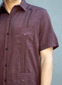 D'Accord Cuban Short Sleeve Guayabera in Brown