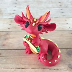 Red Taco Dragon by DragonsAndBeasties on Etsy
