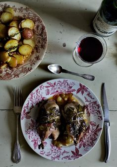 Grape leaf-wrapped roast quail with garlic-thyme potatoes and quince tatin, via Mimi Thorisson