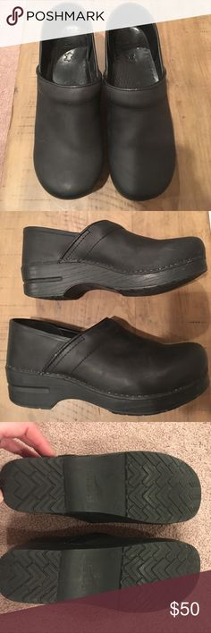 Dansko Leather Clogs Almost like new! These are in top notch condition, slightly worn. Teeny nick on each outer edge -see pictures. Comfortable for nurses and professionals who are on their feet all day. Dansko Shoes Mules & Clogs