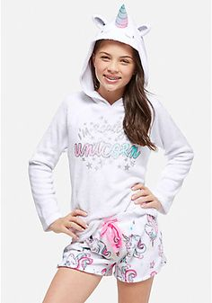 Unicorn Hooded Pajama Top - Pajama Tops - Ideas of Pajama Tops Girl Outfits, Cute Outfits, Fashion Outfits, Tween Mode, Disney Baby Clothes, Unicorn Hoodie, Justice Clothing, Cute Pajamas, Little Fashionista