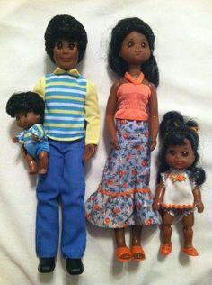 Black Sunshine Family Dolls | RARE 1978 MATTEL BLACK THE HAPPY FUN FAMILY SUNSHINE FAMILY HTF