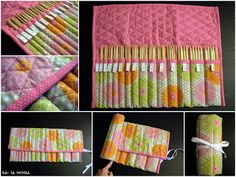 quilted knitting needle case. I could do without the added bulk of the quilting...but it IS very pretty!