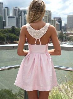 Pink Dress with Beaded Back Detail & Pleated Skirt,  Dress, beaded dress  sleeveless dress, Chic    Possible graduation dress?