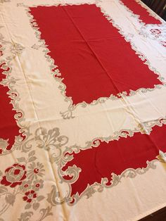 Vintage Red pattern tablecloth Valentine's day