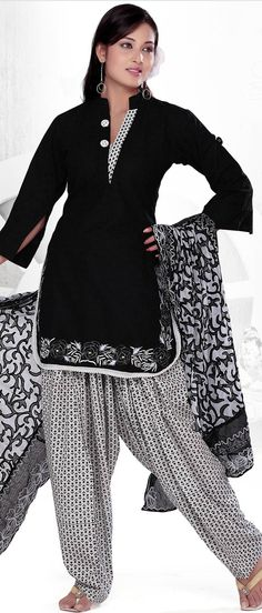 #Black Readymade #Cotton #Salwar Kameez @ $59.61 | Shop @ http://www.utsavfashion.com/store/sarees-large.aspx?icode=kgf3545