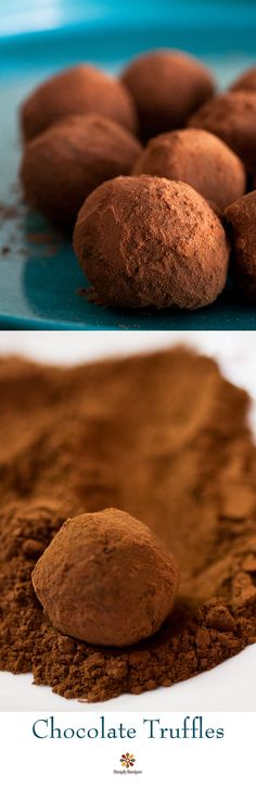 Chocolate Truffles ~ Easy-to-make chocolate truffles made with chocolate and cream, assorted flavors, and coated with either cocoa or chopped nuts. Perfect for Valentine's Day! Get the recipe on SimplyRecipes.com