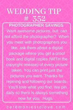 Wedding photographs are the most important keepsake for most brides. You want to have the best quality that you can afford. But quality photographers are expensive, and picture packages often cost prohibitive. This tip will help contain costs while still getting the photos you want. Thanks for repining and following our boards. Hugs. www.ceremomiestolove.com